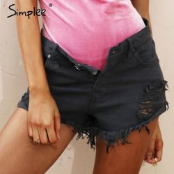 New black denim shorts