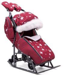 New sledge stroller Pikate burgundy with stars