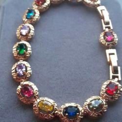 позолоченный браслет с разноцветными фианитами