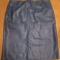 Blue eco-leather skirt, new size 48