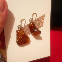 Earrings from rough amber