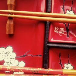 Sakura pe Sushi Red Set, 10 bucăți