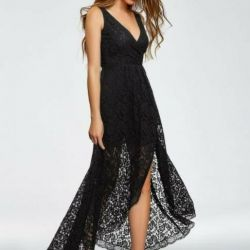 Long lace dress with asymmetrical hem