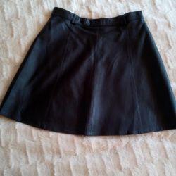 Skirt, genuine leather
