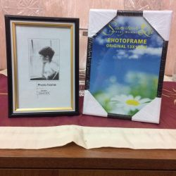 Photo frames, tablecloth, napkins, pillow cases