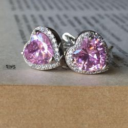 Earrings heart with pink stone