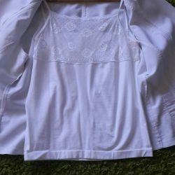 Λευκό σακάκι + μπλούζα