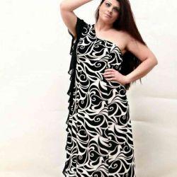 Bir omuz maxi elbise