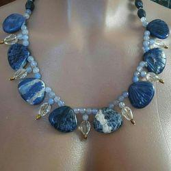 Colier și cercei din lapis lazuli natural