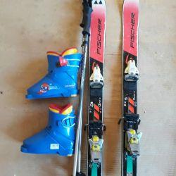 Лыжи горные+ботинки+крепление+палки