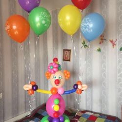 Clown Balloons and Helium Balloons with Happy Ro