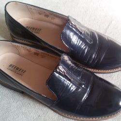 Ayakkabı mokasen mavi, doğal vernik, r-38