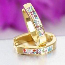 Hoop Earrings with Colored Pebbles