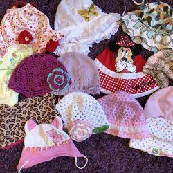 Panamas, hats, bandages for girls under 3 years