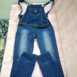Jeans-kombenizon warmed for pregnant women