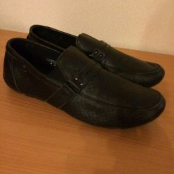 Leather shoes moccasins size 38