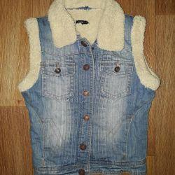 Warm jeans vest
