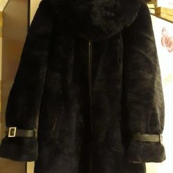 Fur coat muton with silver fox