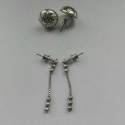 Earrings studs silver new