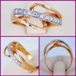 Gold ring 585 sample. Art.N0090. Rr 17.