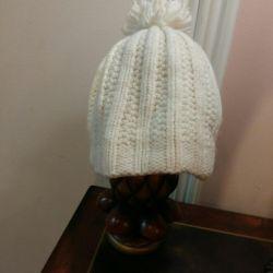 Φθινόπωρο-χειμώνα λευκό καπέλο για τα κορίτσια