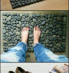 A rug of stones. massage effect.