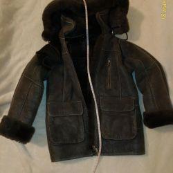 Çocuklar için koyun derisi ceket