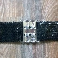 New women's belt from stretch sequins. Italy