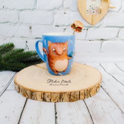 Decorated mug with polymer clay. Red Cat