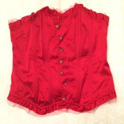 Bright red satin corset, r. 44-46