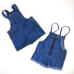 Denim shorts with bib