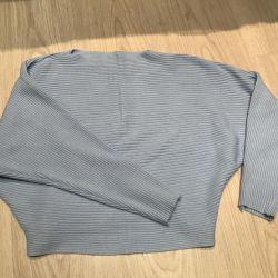 свитер джемпер кофта голубой укороченный