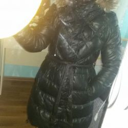 Down jacket with fox fur