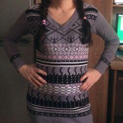Dress new knitwear gray patterned