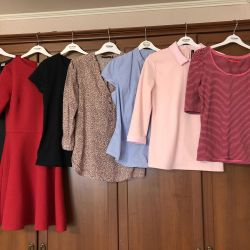 Things in a package: dresses, blouses, jackets