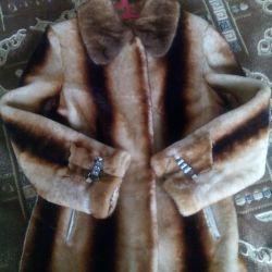 Mouton fur coat, 46 size