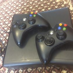 XBOX-360 with 2 joysticks. Wheel and pedals as a gift