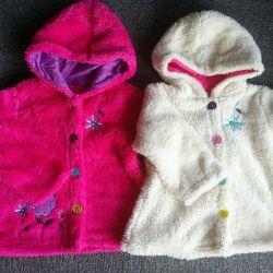 Курточка теплая на 1,5 года, ярко-розовая