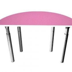 The table is children's semicircular