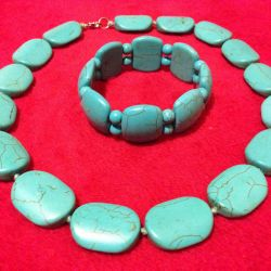 Set from the pressed natural turquoise