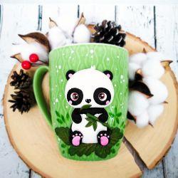 Panda with bamboo. Polymer clay mug decor