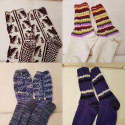 Вязаные носки, тапочки и подставки-салфетки