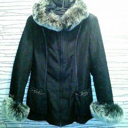 Kutup tilkisi doğal kürklü bayan ceketi 2'si 1 arada