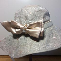Нарядная шляпка изо льна, арт 016, размер 53-57