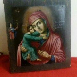 Ancient icon Vladimir Mother of God 19th century