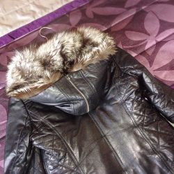 Leather jacket with silver fox fur