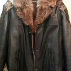 Leather winter jacket with fur