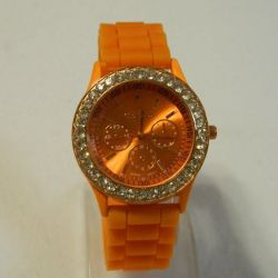 Geneva Watches Orange Silicone Strap