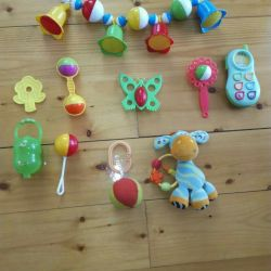 A set of educational toys rattles