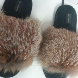 Chic slippers for men of raccoon fur, wolf ...